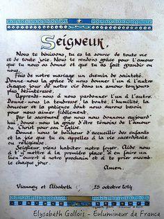 elysabeth gallois enlumineur de france crations prire des epoux cadeau de mariage - Priere Pour Un Mariage Heureux