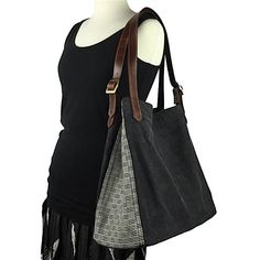 Black Stone Washed Canvas tote bag with hand weaving - Pallu Design