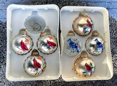 Excited to share this item from my #etsy shop: 7 Glass Holiday Ornaments in Box Painted Cardinal & Bluejay w Snowflakes Christmas Tree Balls Birds Traditional Classic Xmas Decor