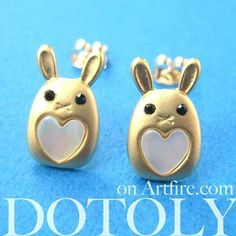 - Description - Details A pair of super cute bunny rabbit animal stud earrings! The earrings are made in the shape of bunnies with heart shaped detail and allergy free earring posts! We have more bunn
