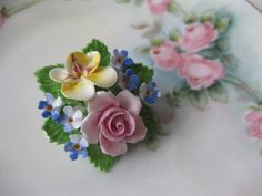 Dainty Denton China Vintage Floral Porcelain Brooch