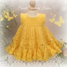 This adorable ensemble is made with Loops & Threads, Soft & Shiny yarn. Popular for its feel, softness and sheen, and beautiful drape. This yarn is available in a variety of colors you will love. The set includes the dress, shrug, ruffled diaper cover, bonnet, and baby shoes.