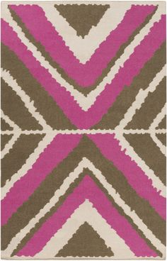 Hand woven wool comes together in this flatweave in an large scale, stylized ikat pattern. Designed by Beth Lacefield for Surya. #lacefielddesigns (AMD-1025)