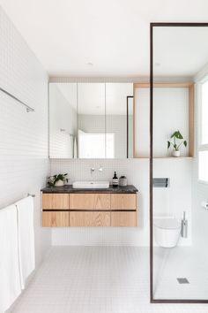 Shower Alcove, Bathroom Mirror Cabinet, Bathroom Vanities, Washroom, Bathroom Ideas, Floating Cabinets, Home Remodeling Diy, Living Room Flooring, House Built