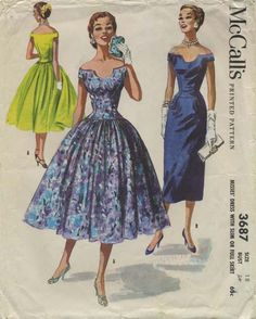 Vintage Sewing Pattern | McCall's 3687 | Year 1956 | Bust 36 | Waist 30 | Hip 39 Robes Pin Up, Dress Making Patterns, Vintage Dress Patterns, Clothing Patterns, Retro Fashion, Vintage Fashion, Vintage Style, Robes Vintage, Vintage Dresses