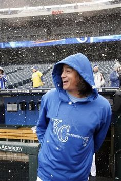 Kansas City Royals pitcher Luis Mendoza reacts to falling snow during a rain delay at a baseball game against the Tampa Bay Rays at Kauffman Stadium in Kansas City, Mo., Thursday, May 2, 2013. The game was stopped in the fourth inning due to snow