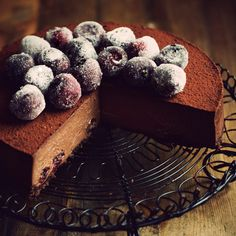Chocolate Cherry Cheesecake; this sophisticated dark chocolate cheesecake is a decadent way to complete your Christmas feast.