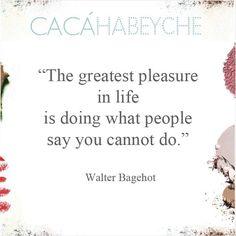 """""""O maior prazer da vida é fazer o que as pessoas dizem que você não pode fazer."""" https://www.instagram.com/p/_SpI7dCMNe/?taken-by=cacahabeyche"""