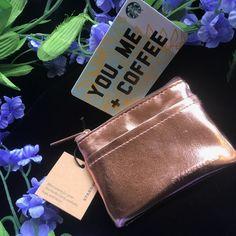 "NEW Starbucks Rose Gold Wallet & Gift Card 2018 ""You Me   Coffee"" Limited! #StarbucksCoffee Starbucks Mugs For Sale, Starbucks Christmas, Starbucks Gift Card, Starbucks Coffee, Rose Gold Wallet, Fall 2018, Pouch, Spring Summer, Purses"