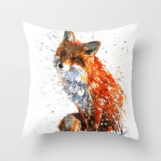 """FOX Throw Pillow by KOSTART - $20.00 to $35.00, Throw Pillow Cover made from 100% spun polyester poplin fabric, a stylish statement that will liven up any room. Individually cut and sewn by hand, the pillow cover measures 16"""" x 16"""" up to 20"""" x 20"""", features a double-sided print and is finished with a concealed zipper for ease of care. Can include pillow insert."""