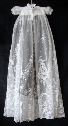 Maria Niforos - Fine Antique Lace, Linens & Textiles : Antique Christening Gowns & Children's Items # CI-40 Superb Tambour Lace Christening Gown