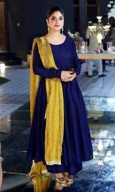 royal blue plain anarkali suit and mustard color dupatta just complimenting the whole look n off course sejal ali is wearing so it becomes more beautiful Indian Gowns Dresses, Pakistani Dresses, Flapper Dresses, Kurti Designs Party Wear, Kurta Designs, Dress Indian Style, Indian Outfits, Indian Clothes, Stylish Dresses