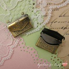 3.00 2 Pcs Envelope Locket Antique Bronze Picture Locket Love Letter Locket Love Letter Charm Vintage Style Pendant Charm Jewelry Supplies  The