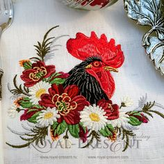 Machine Embroidery Design Rooster in a thicket by RoyalPresentEmb