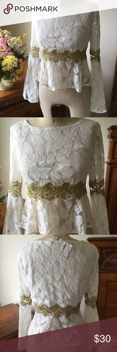 Ruby &Jenna Ivory Bell Sleeve Gold Lace Top Boho chic! Gorgeous lace and gold midriff lace! Perfect for that free people look!💕💕 Double Zero Tops Crop Tops