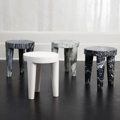 Carved out of a solid block of marble, this low stool or ottoman is a perfect example of a classic shape that is effortlessly stylish. Blue Dining Room Chairs, Farmhouse Dining Chairs, Leather Dining Room Chairs, Accent Chairs For Living Room, Leather Chairs, Sofa Design, Furniture Design, May House, Concrete Stool