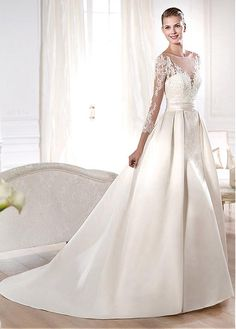 Alluring Satin  A-line Bateau Neckline Natural Waistline Wedding Dress
