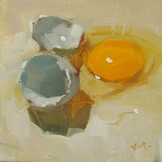 "Daily Paintworks - ""Blue Egg"" - Original Fine Art for Sale - © Carol Marine"