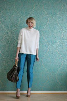 A fashion blog for women over 40 and mature women http://www.glamupyourlifestyle.com/ Sweater + Pants: Dorothee Schumacher Shoes: Boss Bag: Louis Vuitton