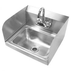 Commercial Sink Hand Washing Basin Stainless Steel Faucet Splashes Wall Mounted #Gridmann