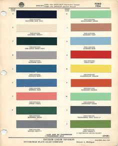 1956 Ford colour palette