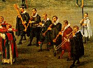 painting of Renaissance musicians in church procession