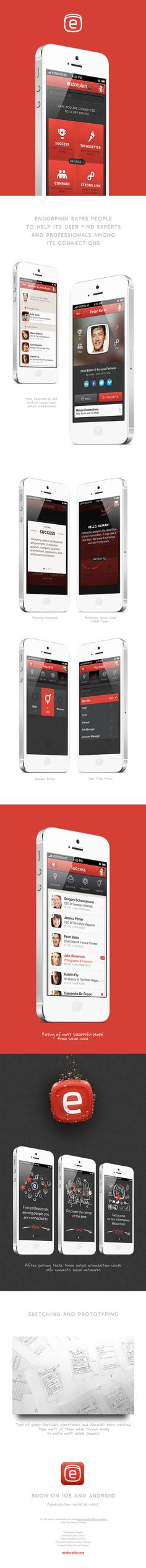 Endorphin by Keepa , via Behance *** Endorphin rates people to help its user find experts and professionals among its connections