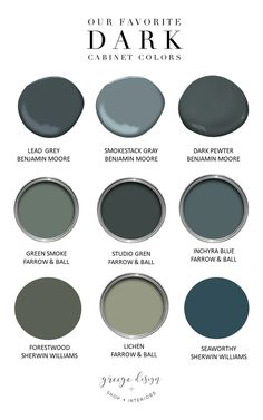 Currently: Dark Cabinet Colors - Currently: Dark Cabinet Colors – greige design Currently: Dark Cabinet Colors – greige design I - Cabinet Paint Colors, Kitchen Cabinet Colors, Kitchen Colors, Kitchen Ideas, Kitchen Designs, Greige Paint Colors, Dark Paint Colors, Dark Grey Kitchen Cabinets, Flea Market Style