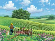 Remarkably Beautiful Nature Paintings With Rich Detail By John Sloane. Farm Paintings, Nature Paintings, Beautiful Paintings, Landscape Art, Landscape Paintings, Farm Art, Country Scenes, Naive Art, Country Art