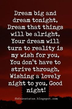 inspirational good night quotes, Dream big and dream tonight, Dream that things will be alright, Your dream will turn to reality is my wish for you, You don't have to strive through, Wishing a lovely night to you, Good night!