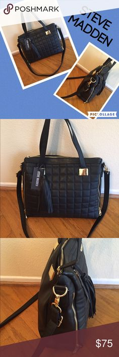 ❤️STEVE MADDEN large black bag NWT-gold accent❤️ ❤️STEVE MADDEN black handbag NWT with gold accents crossbody strap and one zipper pocket inside and 2 others. 17x13❤️ Steve Madden Bags Satchels