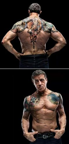 Tattoo design used for Bullet In The Head, Sylvester Stallone Sylvester Stallone, Tattoo Henna, Foto Portrait, Skin Art, Back Tattoo, Tattoos For Guys, Sleeve Tattoos For Men, Tatoos Men, Body Art Tattoos