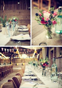 more lovely rustic barn table details and decorations, flowers in jam jars tied with jute