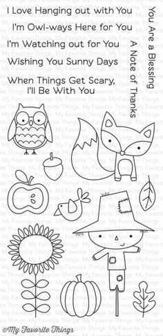 My Favorite Things Fall Friends - Clear Stamp. You'll fall in love with the homey feel of our Fall Friends stamp set! It's like a trip to the pumpkin patch with