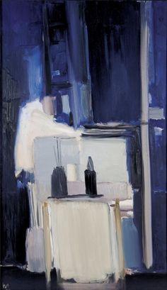 Nicolas de Staël - Artist XXè - Abstract Art - Coin d'Atelier Fond Bleu 1955 Abstract Landscape Painting, Landscape Paintings, Abstract Art, Oil Painting Frames, Painting & Drawing, Acrylic Paintings, Michael Borremans, Tachisme, Yves Klein