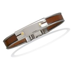 "7.5"" Stainless Steel and Leather Men's Bracelet with 18K Gold Accents     7.5  Code: 22756    SHOP with my Vendor Code DCH90045  http://www.925silvercatalog.com/Merchant2/merchant.mvc?Screen=CTGY_Code=SSC_Code=MJ"