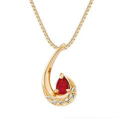 Pear Shaped Ruby and Diamond Pendant (18 in.) One stunning pear shaped ruby at approximately .22 carat sits on quality 14 karat yellow gold. Six round diamonds at approximately .05 carat total weight create the perfect accent. The total gem weight is approximately .27 carat. The heavenly combination hangs from a matching 18-inch box chain.