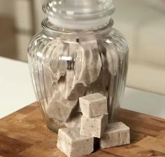 Body scrub sugar cubes with coffee grounds.