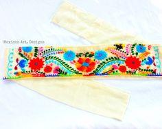 Alcatraz Mexican Embroidered Belt por MexicanartDesigns en Etsy