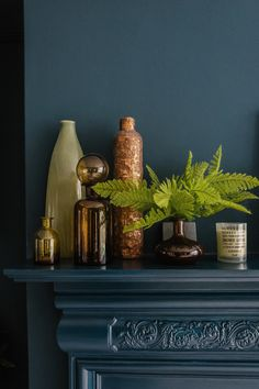 Dark Green Blue Wall Colour With Vases And Candles On A Mantelpiece For  Modern Eclectic Style By Fiona Duke Interiors. With Botanical Greenery To  Add Colour ...