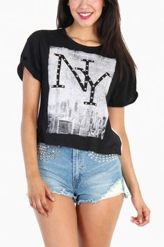 Studded NY Print Top - Black / White