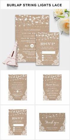 Invitation Suite: Rustic Burlap String Lights Lace Wedding Invitations