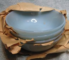 Turquoise Fire-King Dessert Bowls with Original Papers