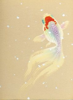 Goldfish painter Ryusuke Fukahori - goldfish slope evening of Autumn Festival Watercolor Print, Watercolor Paintings, Koy Fish, Goldfish Tattoo, Golden Fish, Carpe, Beautiful Fish, Japan Art, Fish Art