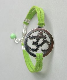 Pick Color / Size Silver Om Yoga Bracelet - Faux Suede Leather Cord Bracelet - Meditation Yoga Jewelry - Christmas Gift - Made in Canada