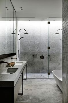 AGUSHI Construction and Workroom's latest project is an exceptional multimillion-dollar home located in Melbourne's charming suburb of Armadale. Bathroom Goals, Bathroom Inspo, Bathroom Inspiration, Bathroom Interior, Bathroom Ideas, Minimalist Bathroom, Apartment Interior, Modern Decor, Interior And Exterior