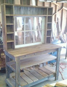 Potting bench Hutch with window and cubbies