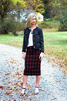Fall plaid & lady jacket on Confessions of the Glitterati