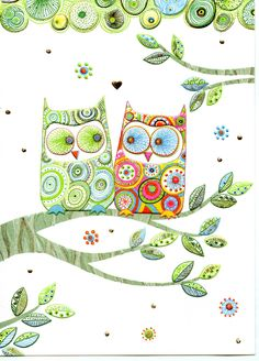colouful owl pair from Turnowsky