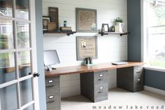 Industrial Pipe Shelves for the Office - Meadow Lake Road.  Butcher Block Desk at:  http://www.meadowlakeroad.com/diy-projects/butcher-block-desk-top/............faux zinc on file cabinets at:  http://www.meadowlakeroad.com/diy-projects/faux-zinc-finish-on-metal-file-cabinets/